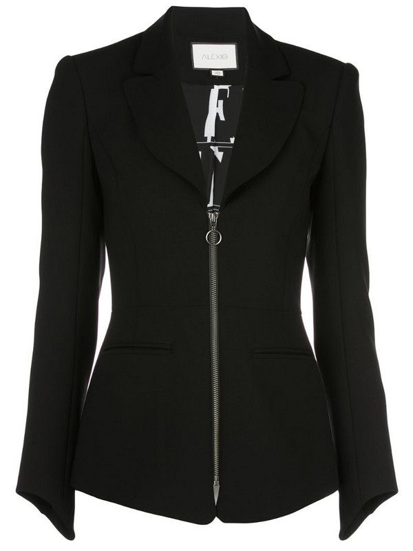 Alexis zipped fitted jacket in black