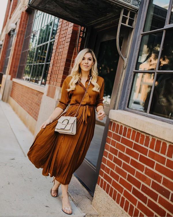 dress shirt dress pleated dress long sleeve dress sandals crossbody bag