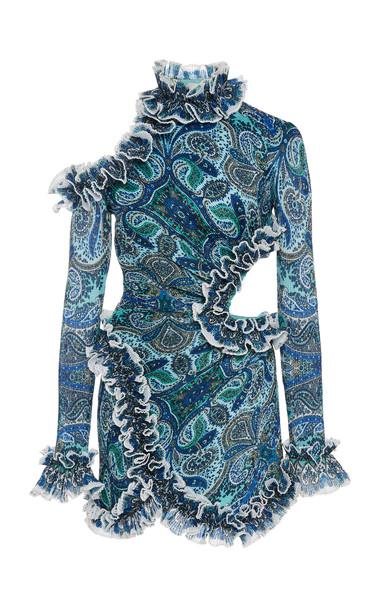 Zimmermann Moncur Cutout Plisse Mini Dress Size: 0 in print