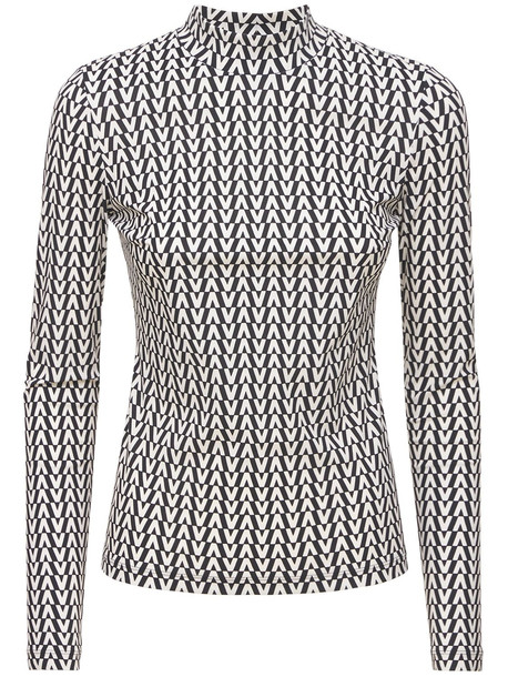 VALENTINO Optical V Logo Stretch Jersey Top in black / white