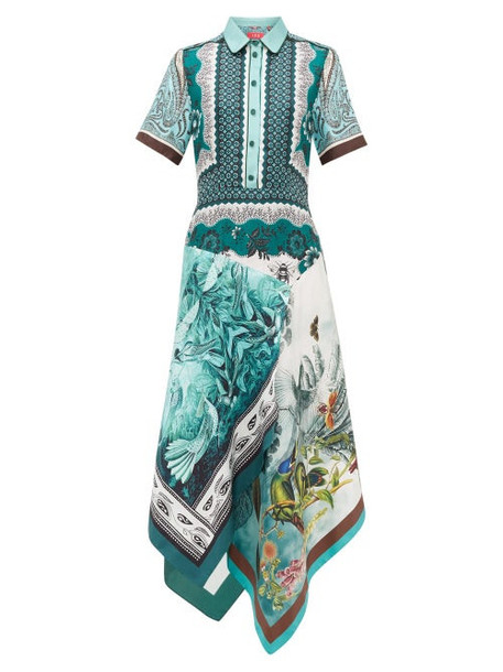 F.r.s - For Restless Sleepers - Concordia Patchworked Floral-print Silk Dress - Womens - Green Multi