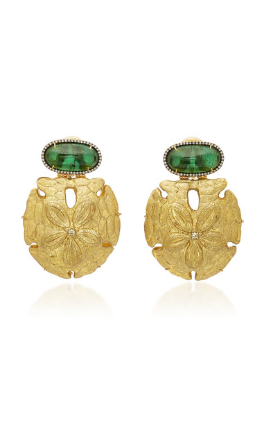 Silvia Furmanovich Sculptural Botanical Gold Sand Dollar Drop And Tourmaline Earrings
