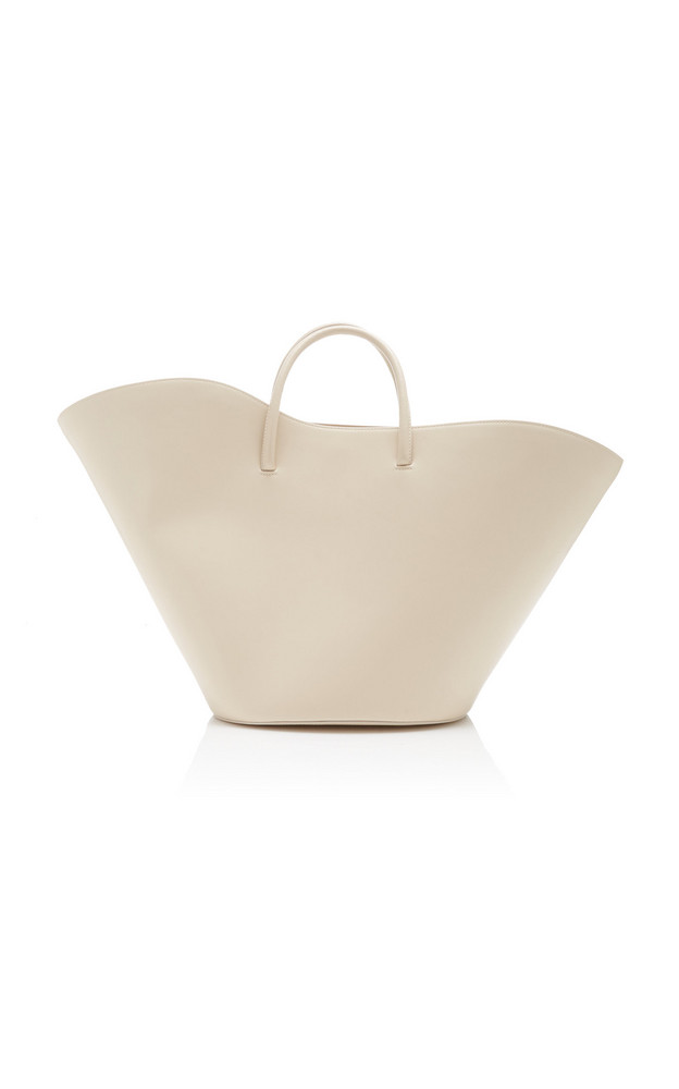 Little Liffner Tulip Leather Tote Bag in ivory