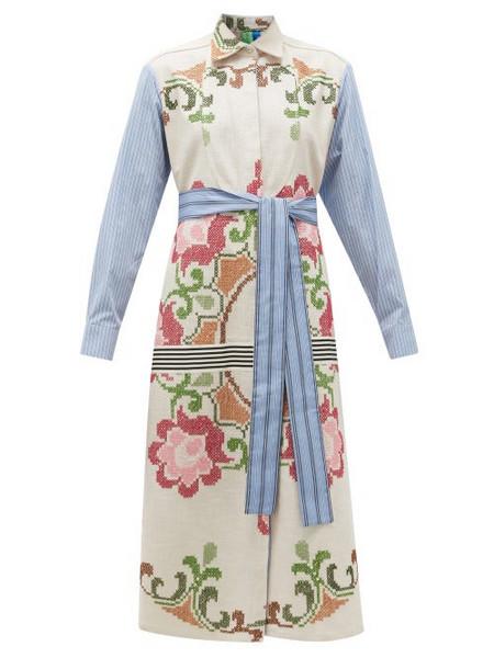 Rianna + Nina Rianna + Nina - Vintage Cross-stitch And Stripe Cotton Shirt Dress - Womens - Multi