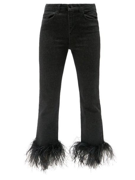 16arlington - Feather-trimmed Cropped Denim Jeans - Womens - Black