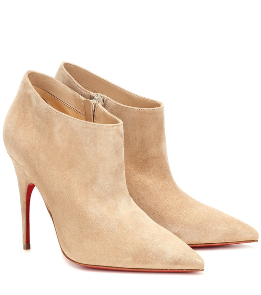 Christian Louboutin Gorgona 100 suede ankle boots in beige