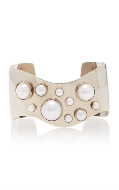 Rodarte Wavy Silver Cuff With Pearl Details