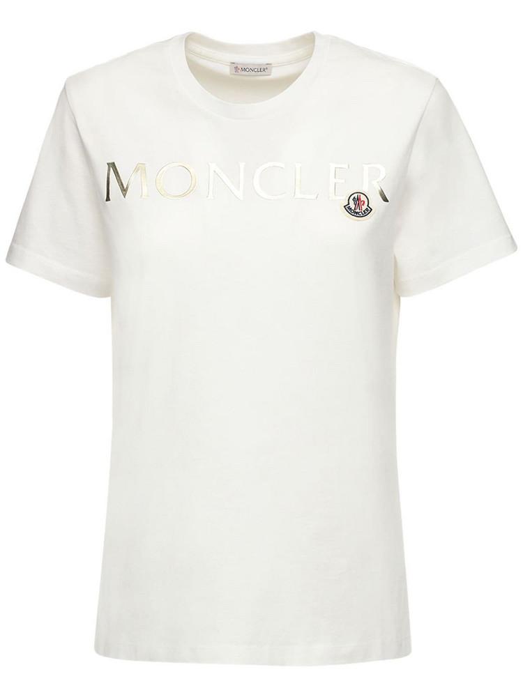 MONCLER Logo Printed Cotton Jersey T-shirt in gold / white