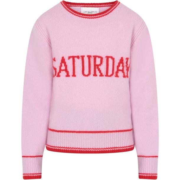 Alberta Ferretti Pink Girl Sweater With Red Writing