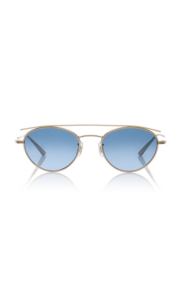 Oliver Peoples THE ROW Hightree Titanium Aviator Sunglasses in blue
