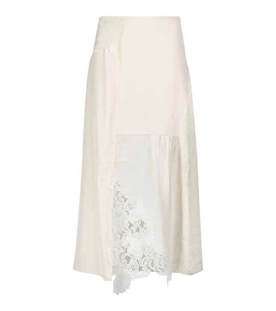 Acne Studios Lace-trimmed midi skirt in white