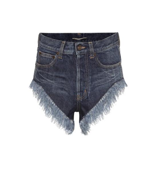 Saint Laurent Fringed high-rise denim shorts in blue