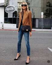 bag,black bag,skinny jeans,pumps,blazer,black top,black sunglasses