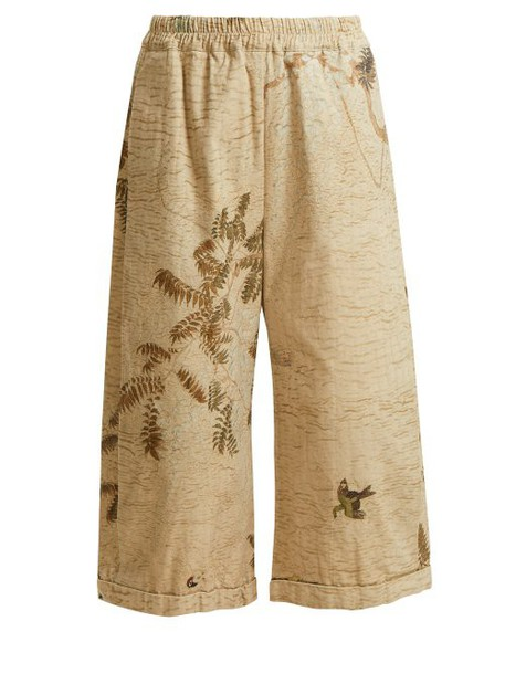 By Walid - Hazy Jungle Print Cotton Canvas Wide Leg Trousers - Womens - Beige Print