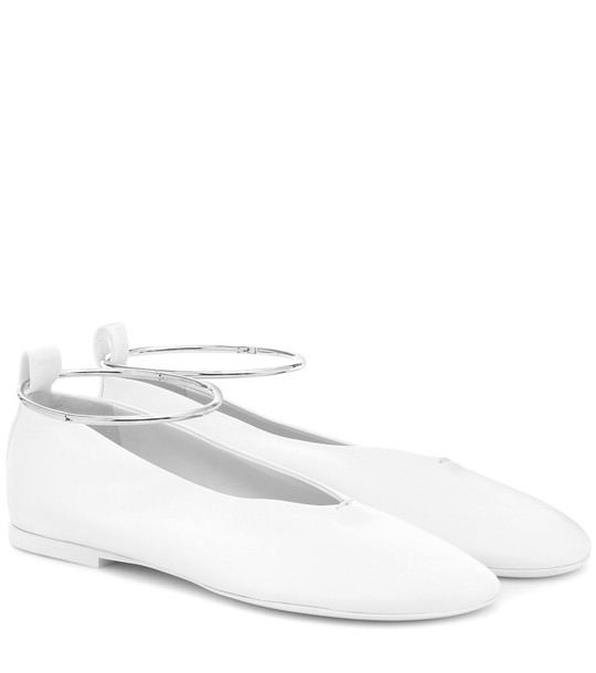 Jil Sander Leather ballet flats in white