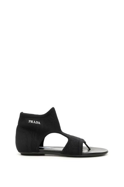 Prada Stretch Sock Sandals With Logo in nero