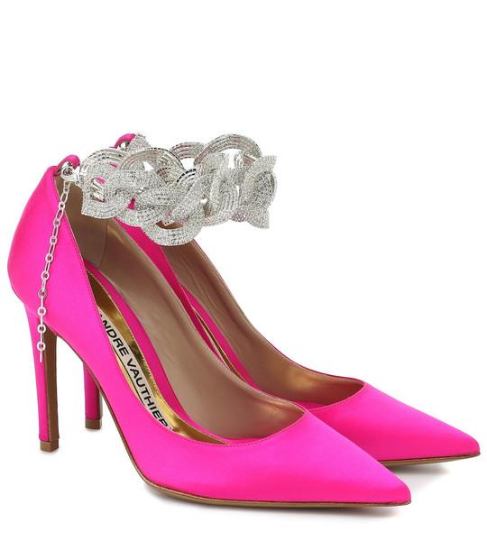 Alexandre Vauthier Elsa embellished satin pumps in pink