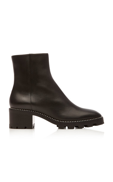 Jimmy Choo Mava Embellished Leather Ankle Boots Size: 35 in black
