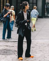 top,kimono,black pants,boots,backpack,white blouse