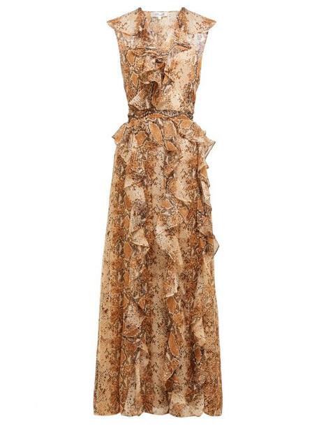 Diane Von Furstenberg - Lacey Python Printed Silk Chiffon Wrap Dress - Womens - Brown Print