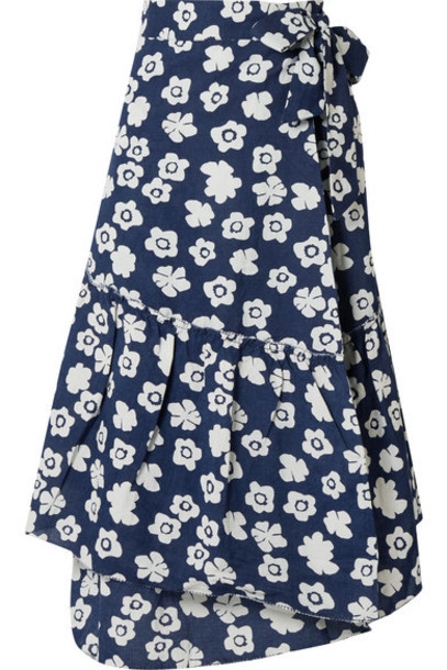 APIECE APART - Iberia Floral-print Cotton And Linen-blend Wrap Skirt - Navy