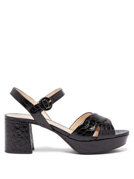 Prada - Platform Crocodile Effect Leather Sandals - Womens - Black