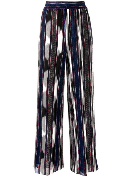 Missoni high-waisted silk stripe trousers in blue