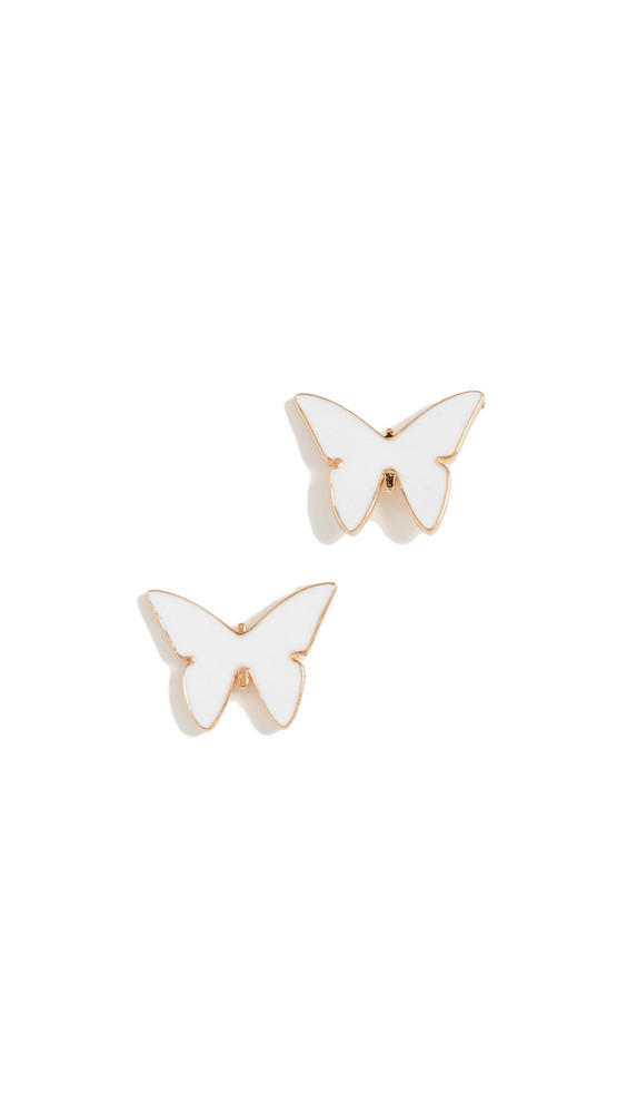 Jennifer Zeuner Jewelry Mariah Mini Enamel Earrings in gold / white