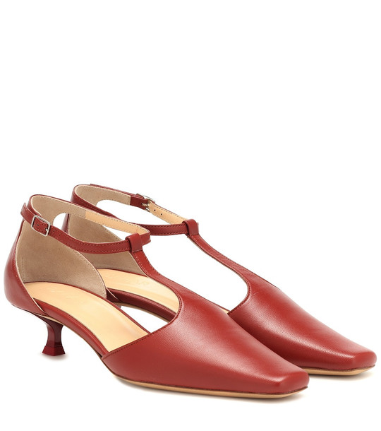 By Far Bella T-bar leather pumps in red