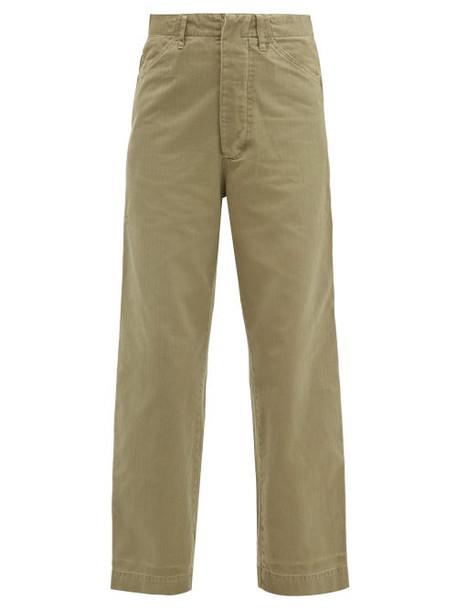 Chimala - Wide Leg Cotton Trousers - Womens - Khaki