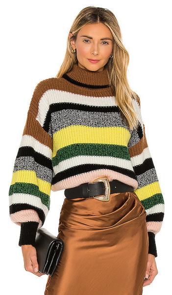 Essentiel Antwerp Zlatam Striped Sweater in Brown in yellow