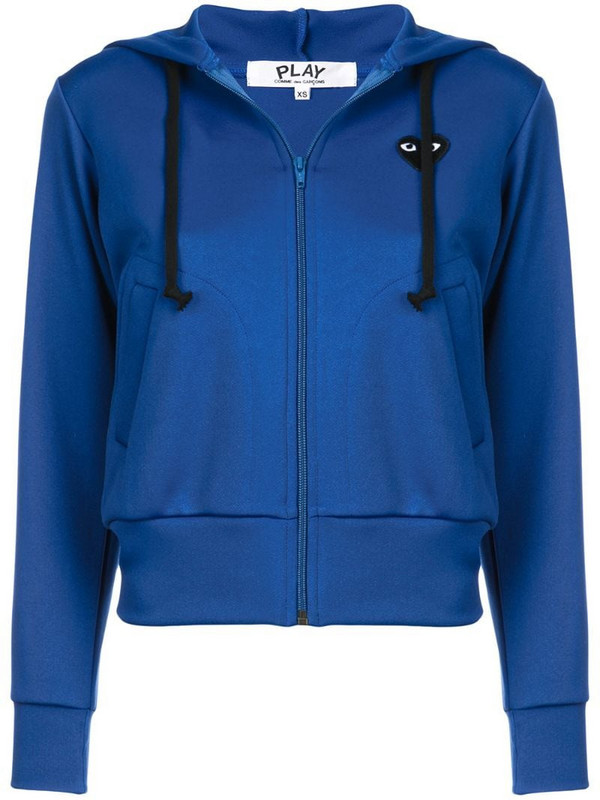 Comme Des Garçons Play drawstring zip hoodie in blue