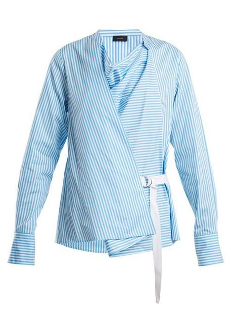Joseph - Arran Striped Cowl Neck Wrap Shirt - Womens - Blue Stripe