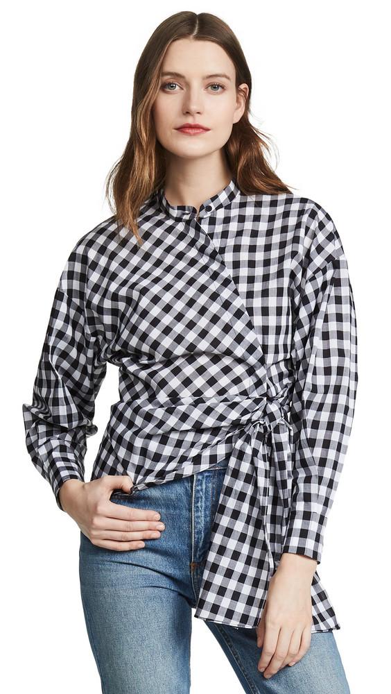 Edition10 Gingham Tie Waist Shirt in black / white
