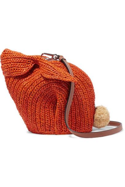 Loewe - Bunny Mini Leather-trimmed Raffia Shoulder Bag - Orange