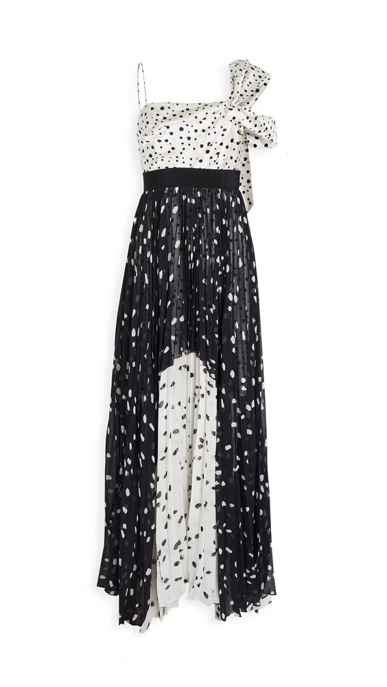 Silvia Tcherassi Salgar Polka Dot One Shoulder Gown in black / white
