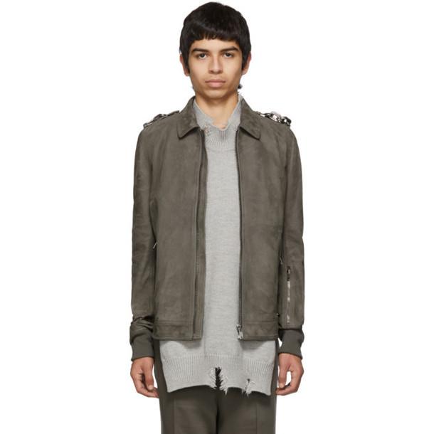 Rick Owens Grey Suede Rotterdam Jacket
