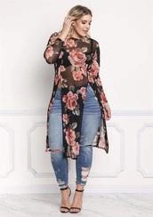 dress,floral,black,floral dress,cut-out,asian fashion,plus size,skinny jeans