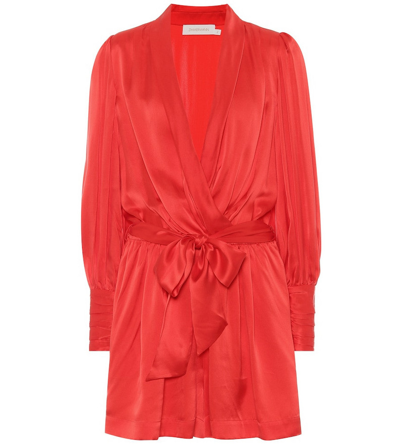 Zimmermann Wavelength silk-satin playsuit in red
