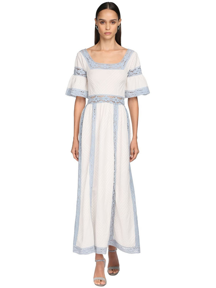 LUISA BECCARIA Colored Lace & Cotton Long Dress in blue / white