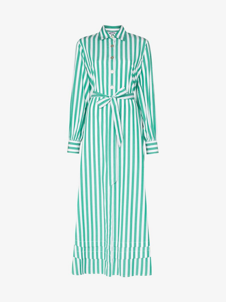 Evi Grintela Lily striped shirt dress in green