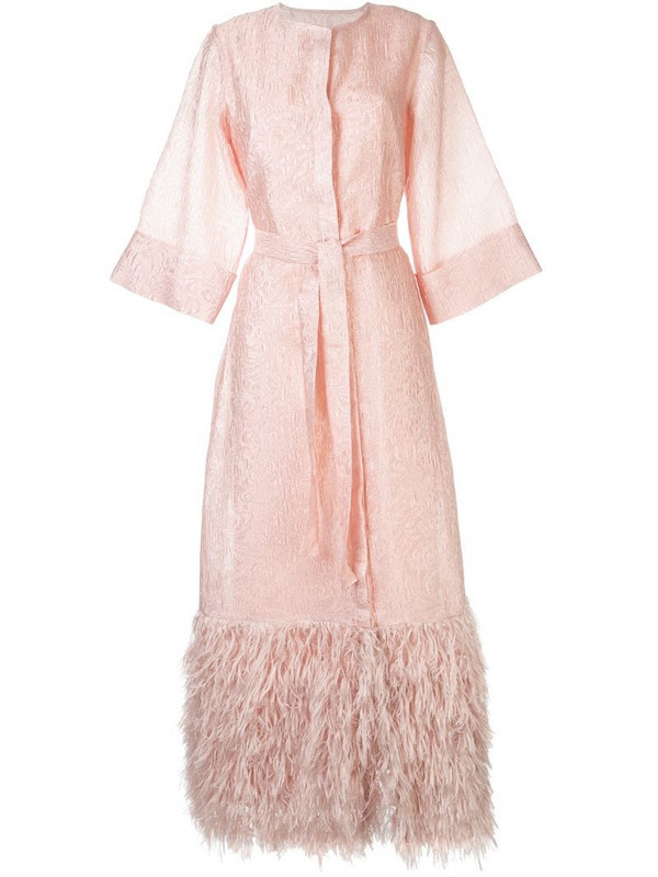 Bambah Lily Feather kaftan in pink