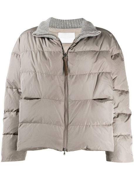 Fabiana Filippi long sleeve padded coat in grey