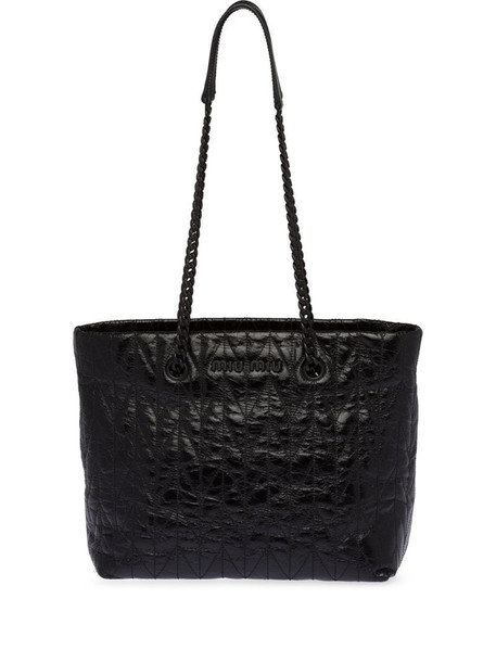 Miu Miu lettering logo quilted-effect tote in black