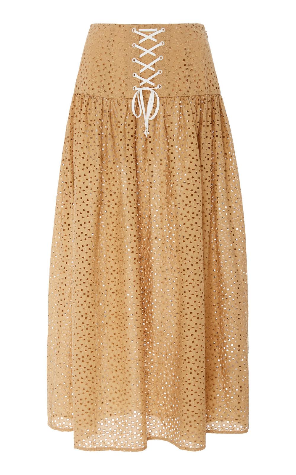 Marysia Swim Riviera Cotton-Eyelet Maxi Skirt in brown