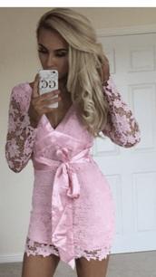 dress,pink dress,long sleeves,mini dress