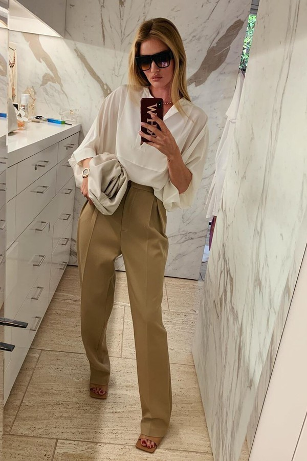 pants blouse top brown camel rosie huntington-whiteley work outfits