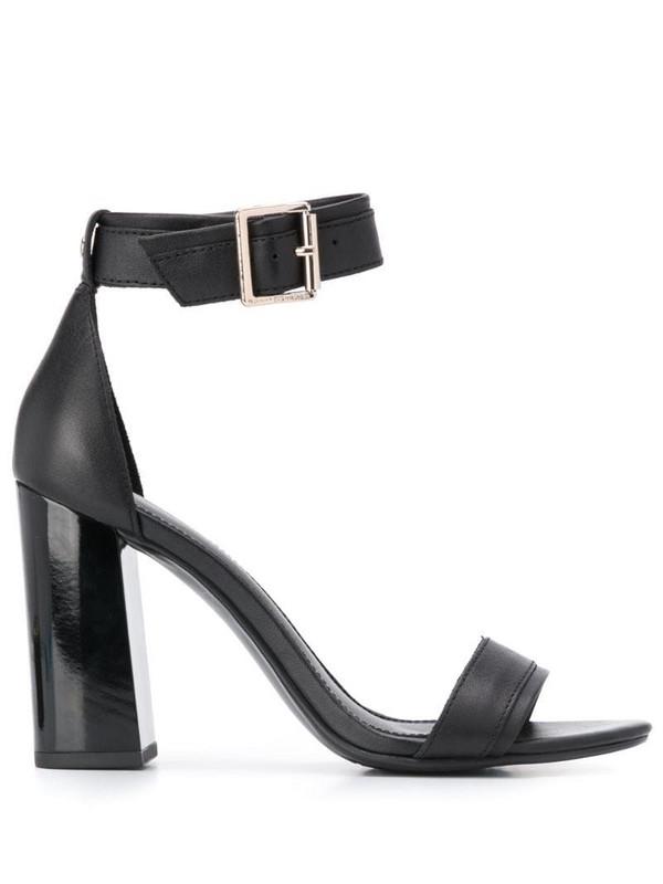 Tommy Hilfiger block heeled leather sandals in black