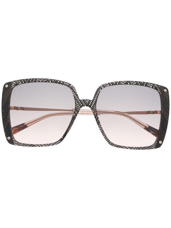 MISSONI EYEWEAR lace-print oversized square-frame sunglasses in black