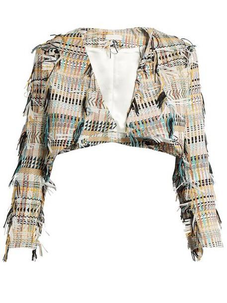 Carl Kapp - Fringe Tweed Cropped Jacket - Womens - Yellow Multi